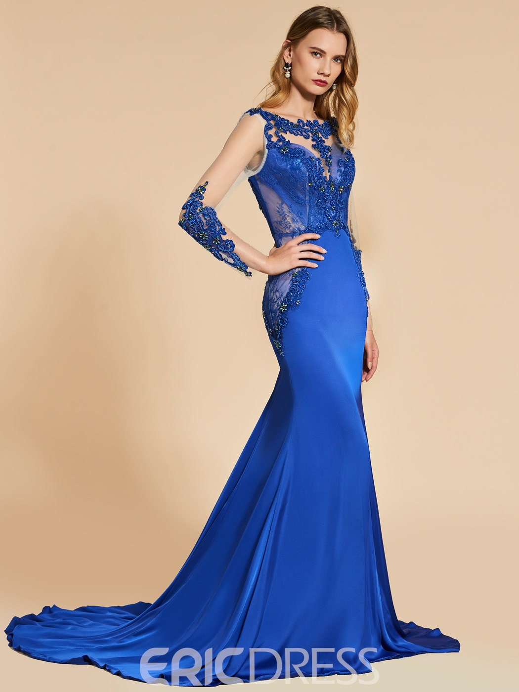 1d3bbf43bf3 Ericdress Mermaid Applique Beaded Backless Evening Dress With Long ...