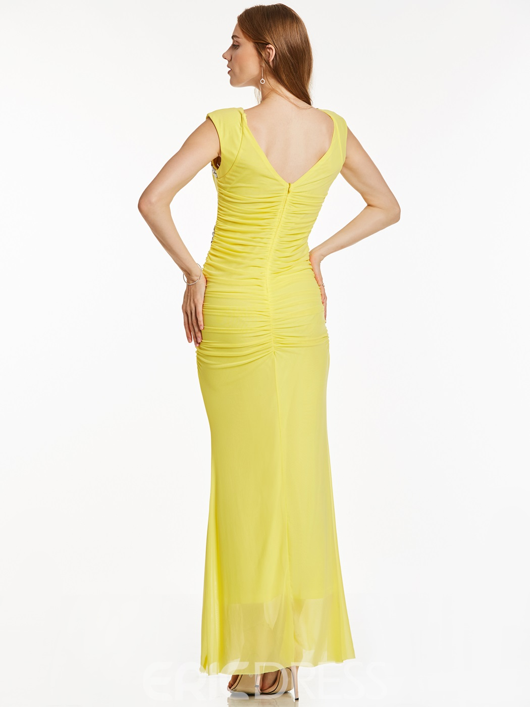Ericdress V Neck Zipper-Up Beaded Pleats Sheath Evening Dress