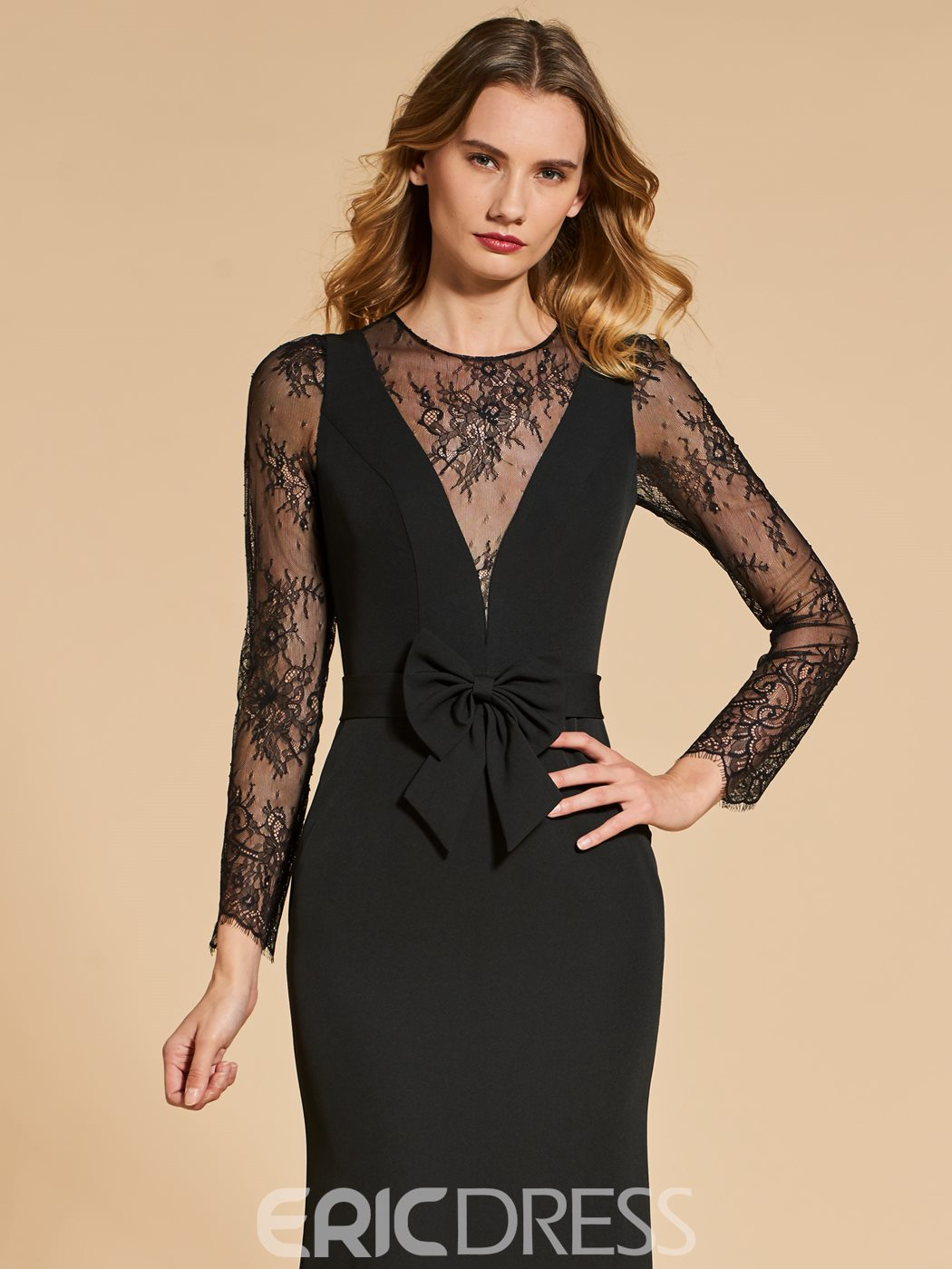 Ericdress Long Sleeve Lace Sheath Evening Dress With Bowknot
