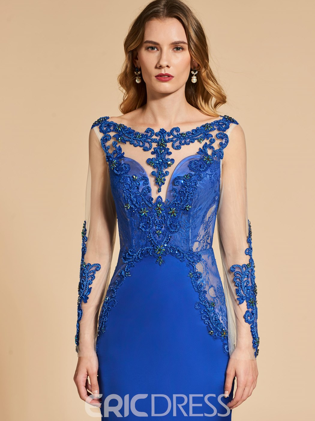 35a9e9fa02c ... Ericdress Mermaid Applique Beaded Backless Evening Dress With Long  Sleeve ...