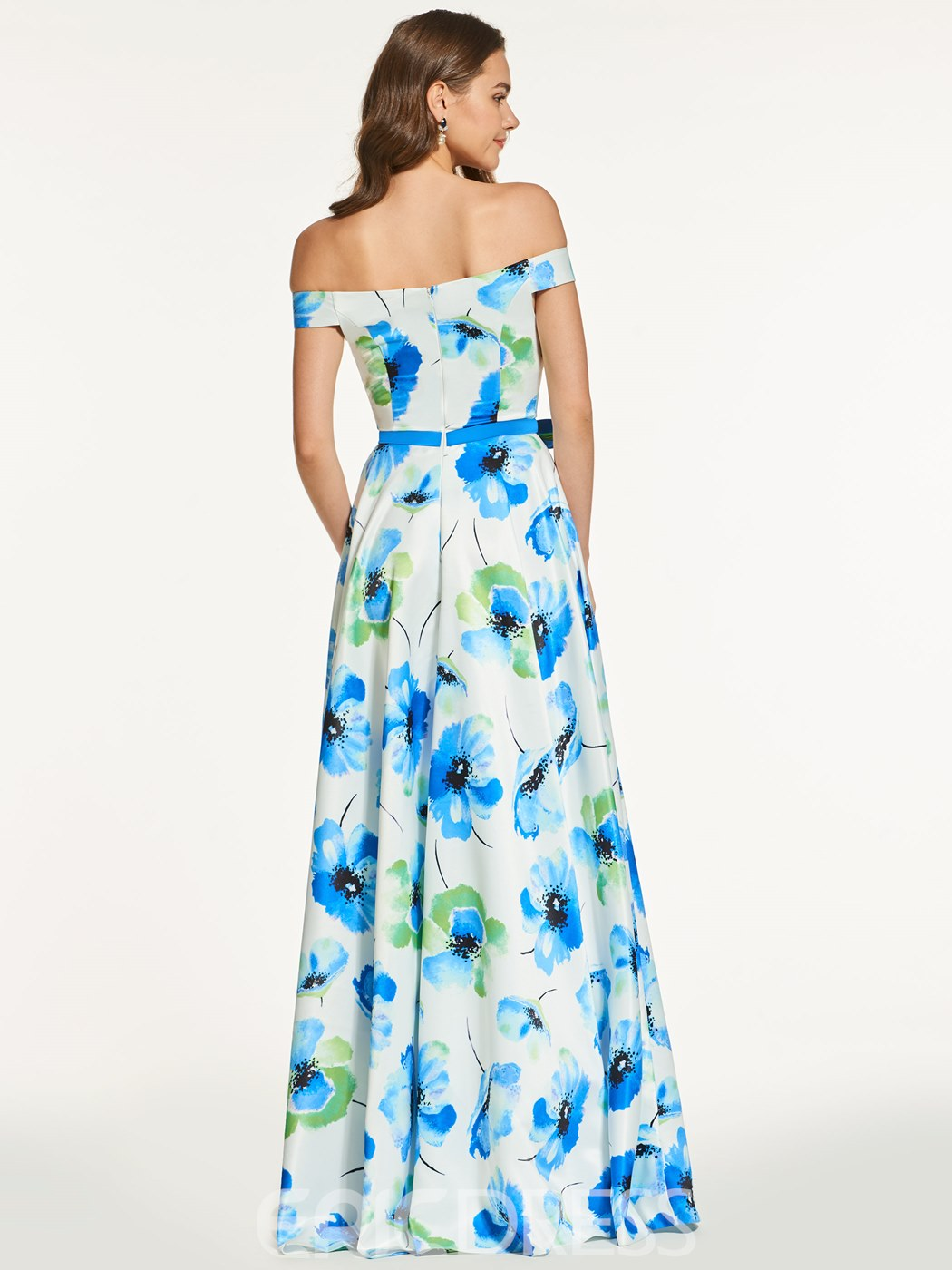 Ericdress A Line Off The Shoulder Floral Print Long Prom Dress