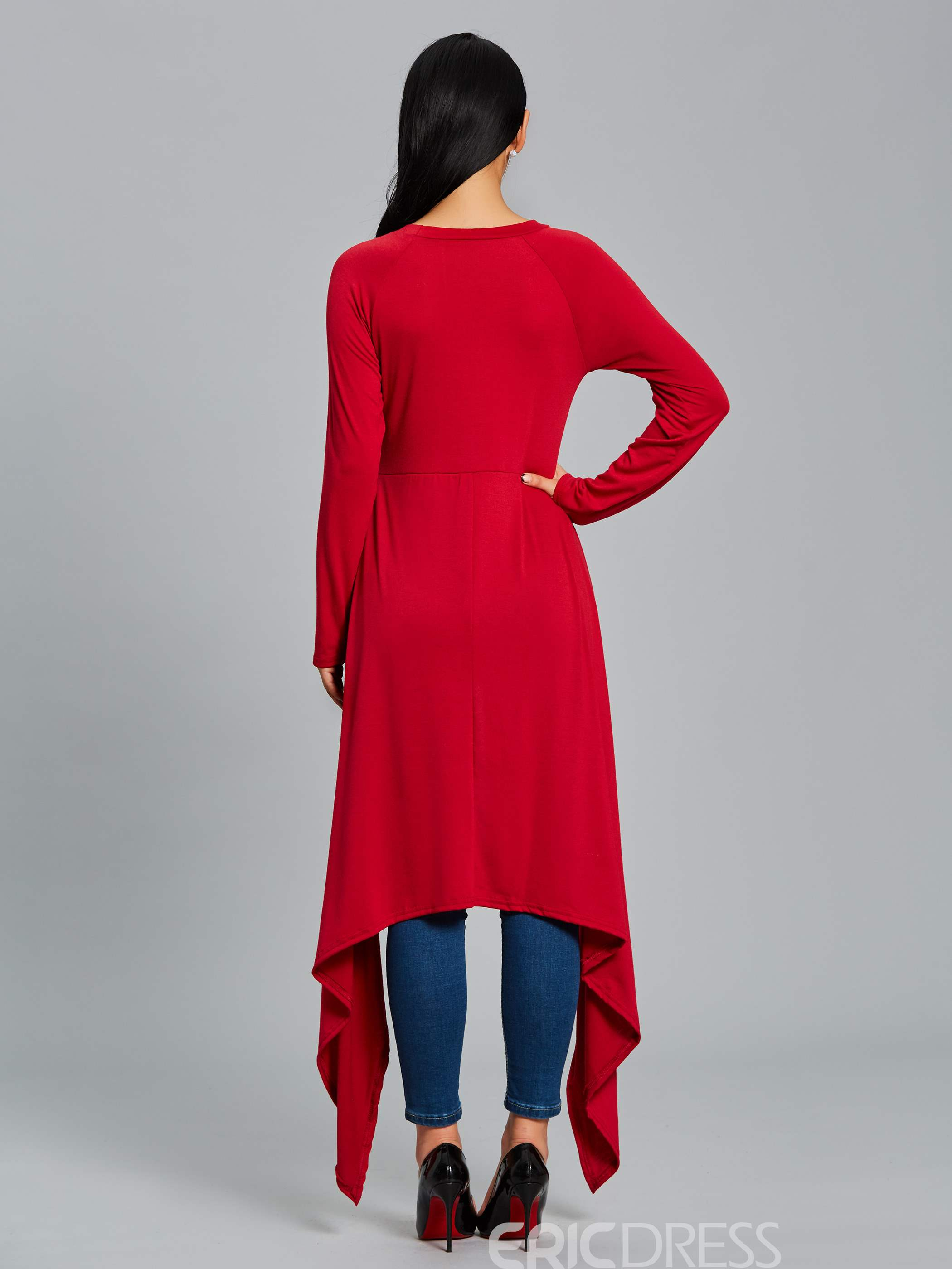 Ericdress Slim Plain Asymmetric Long T-shirt