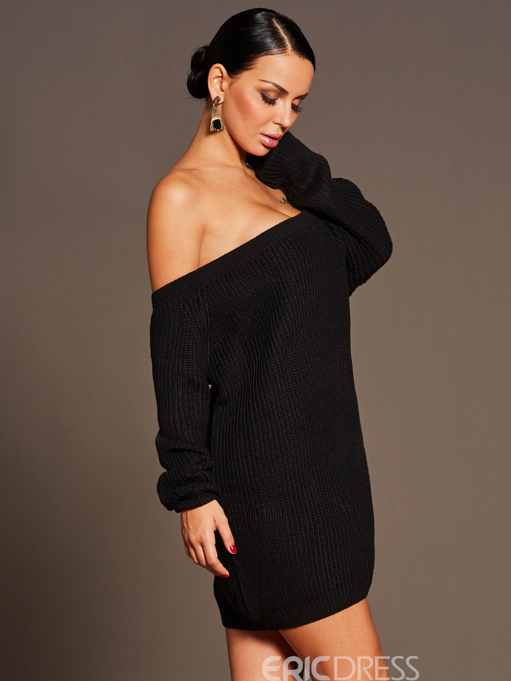 Ericdress Slash Neck Long Sleeve Bodycon Sweater Dress