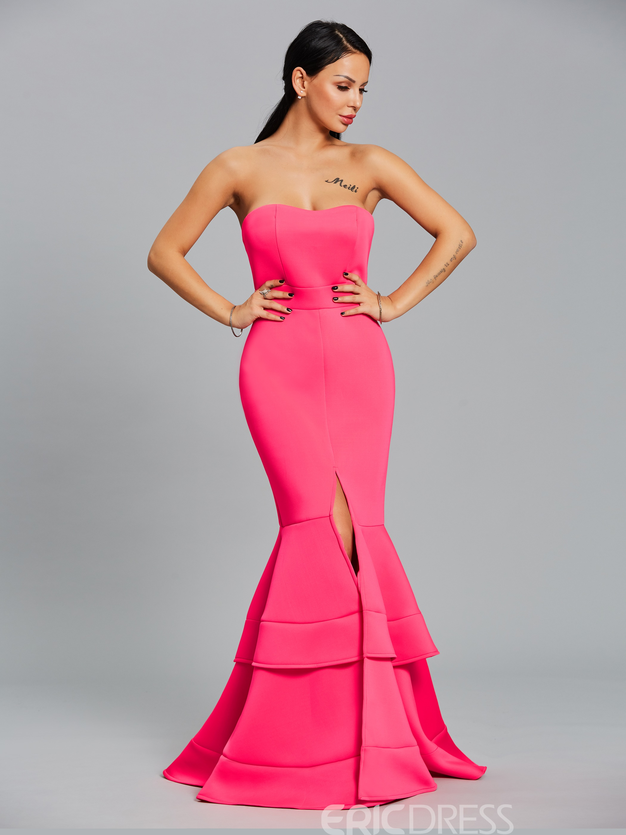 Ericdress Off-the-Shoulder Tiered Mermaid Maxi Dress