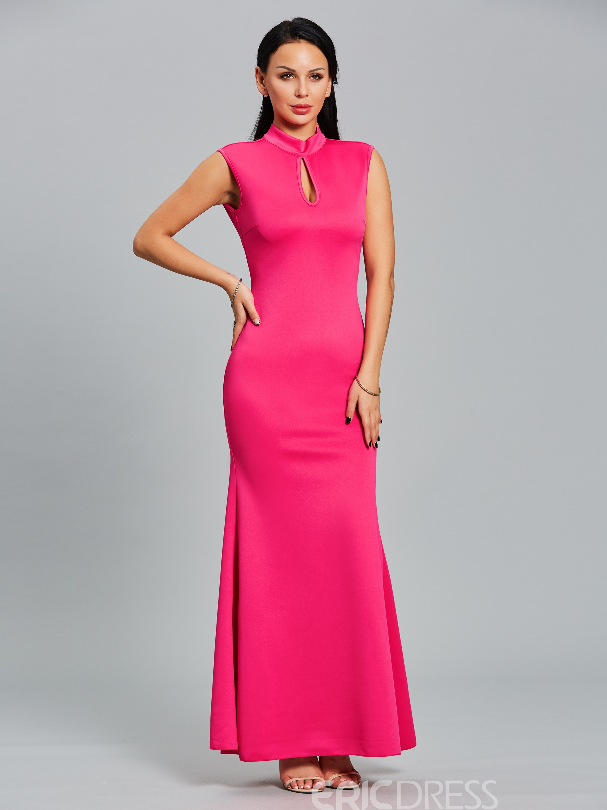 Ericdress Hollow Backless Mermaid Maxi Dress