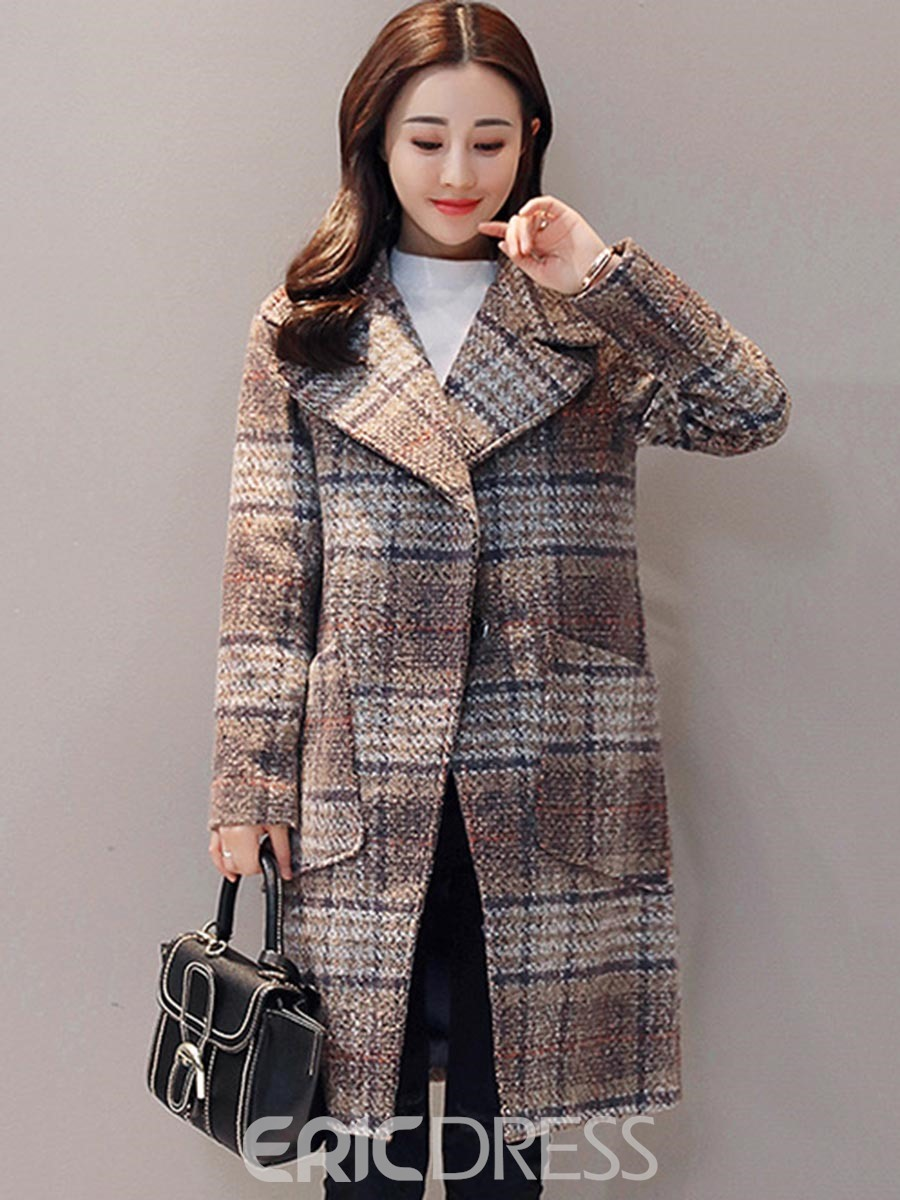 1befce53b85 Ericdress Loose Plaid Mid-Length Thick Coat 13103832 - Ericdress.com