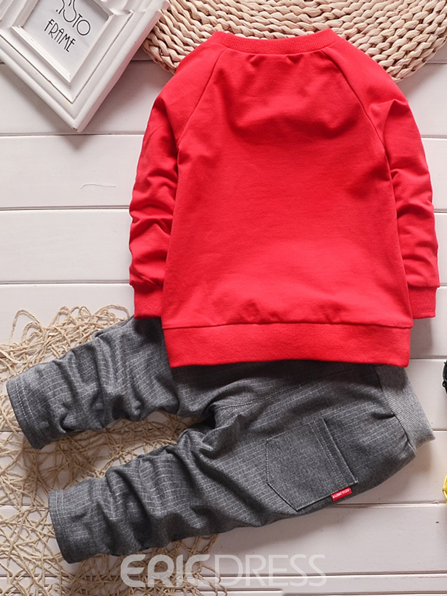 Ericdress Plain Sweater & Plaid Trousers 2-Pcs Baby Boy's Outfit