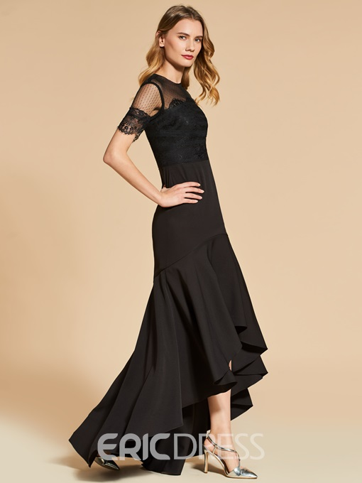 Ericdress Short Sleeve High Low Asymmetry Mermaid Evening Dress