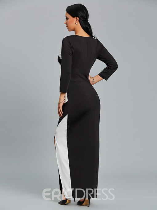 Ericdress Belt Color Block Mermaid Maxi Dress