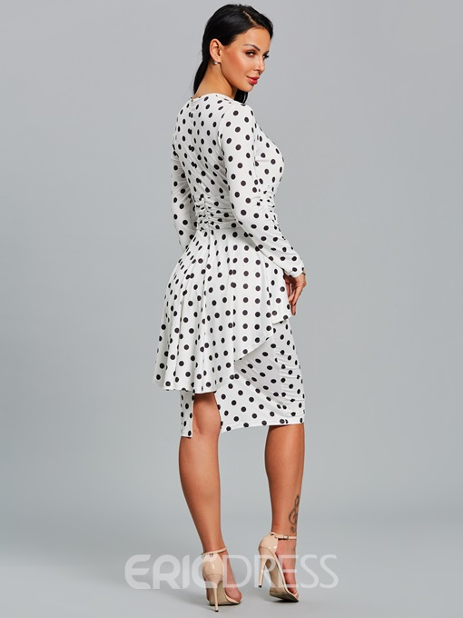 Ericdress Polka Dots Double-Layer Women's Sheath Dress