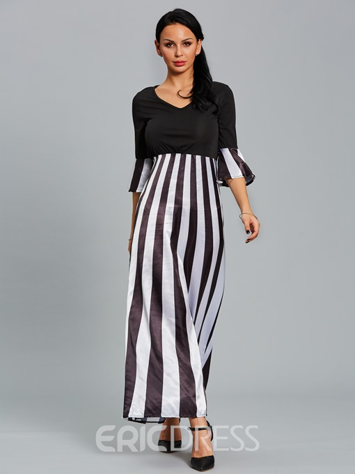 Ericdress V-Neck Color Block Stripe Patchwork Maxi Dress