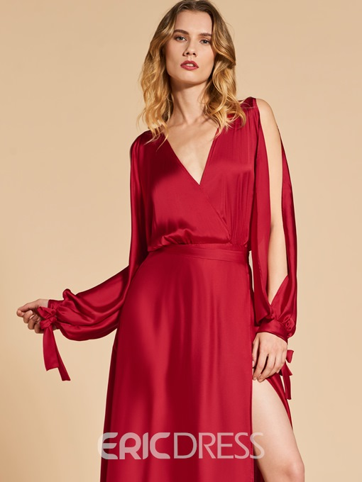 Ericdress A Line Long Sleeve V Neck Long Evening Dress With Side Slit