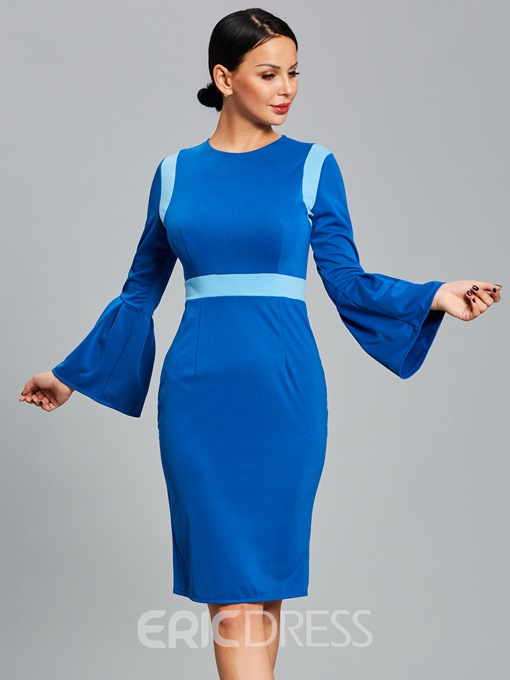 Ericdress Color Block Flare Sleeve Women's Sheath Dress