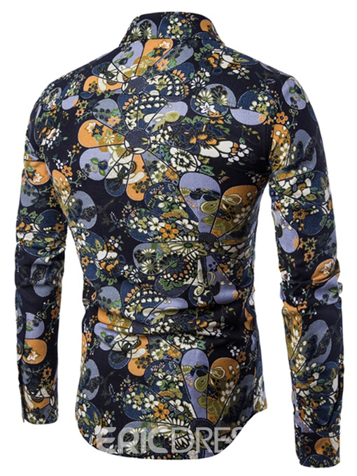 Ericdress Lapel Print Patchwork Men's Casual Shirt