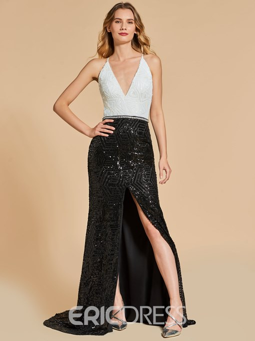 Ericdress Straps Open Back Sequins Long Mermaid Evening Dress With Side Slit