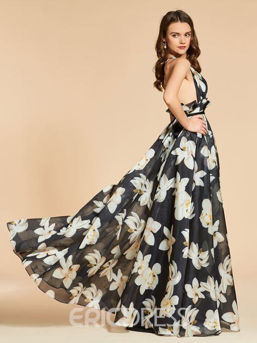 Ericdress A Line Floral Printing Evening Dress