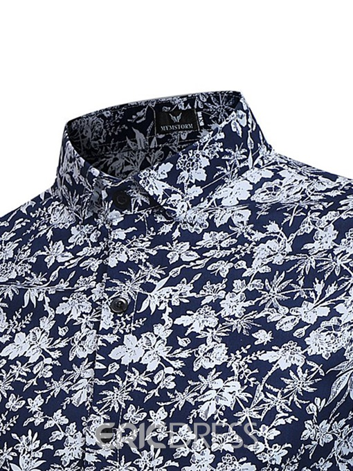 Ericdress Button Floral Lapel Mens Single-Breasted Shirt