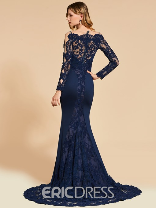 Ericdress Long Sleeve Off The Shoulder Applique Lace Mermaid Evening Dress