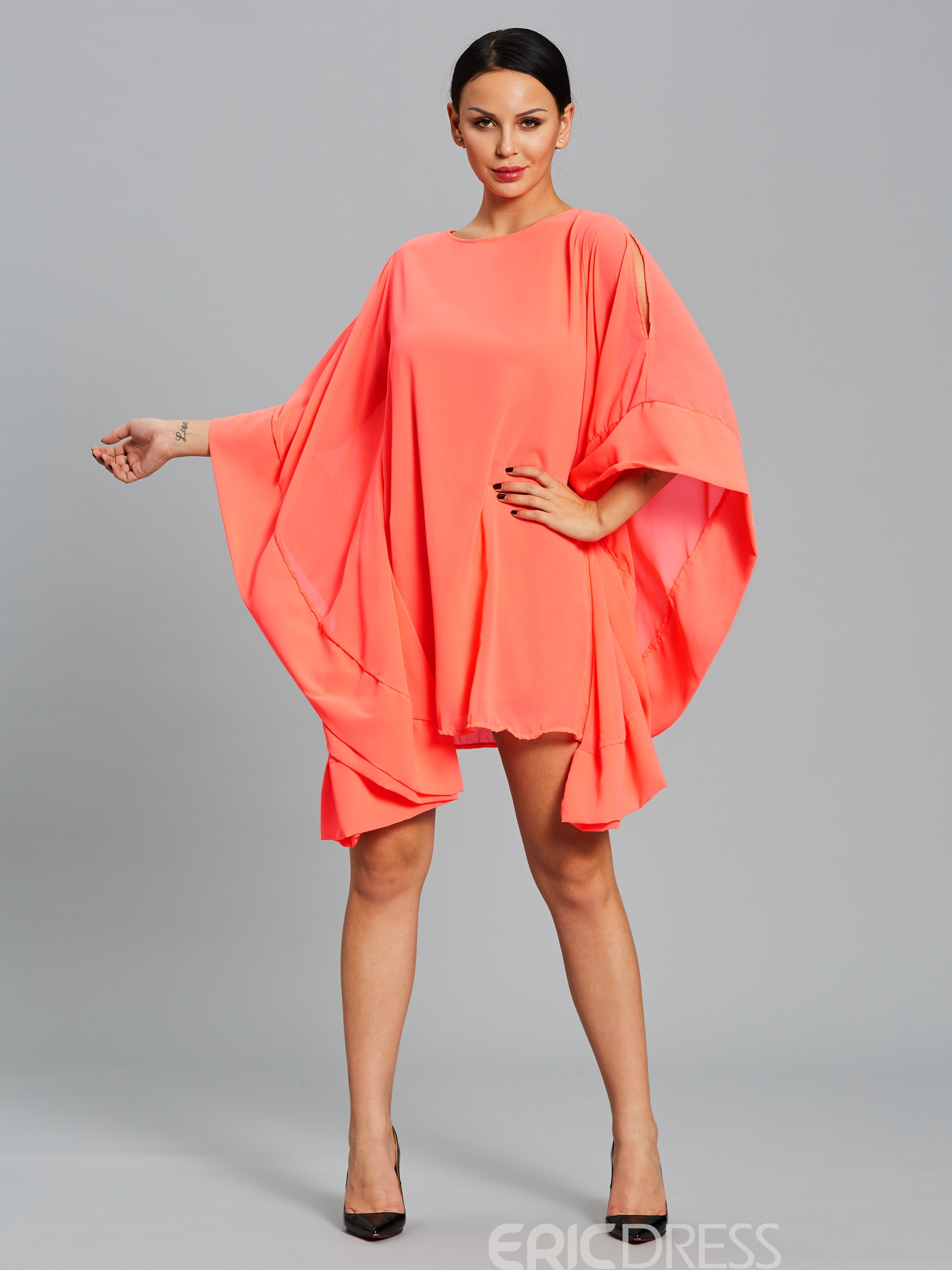 Ericdress Solid Color Ruffles Asymmetrical Casual Dress