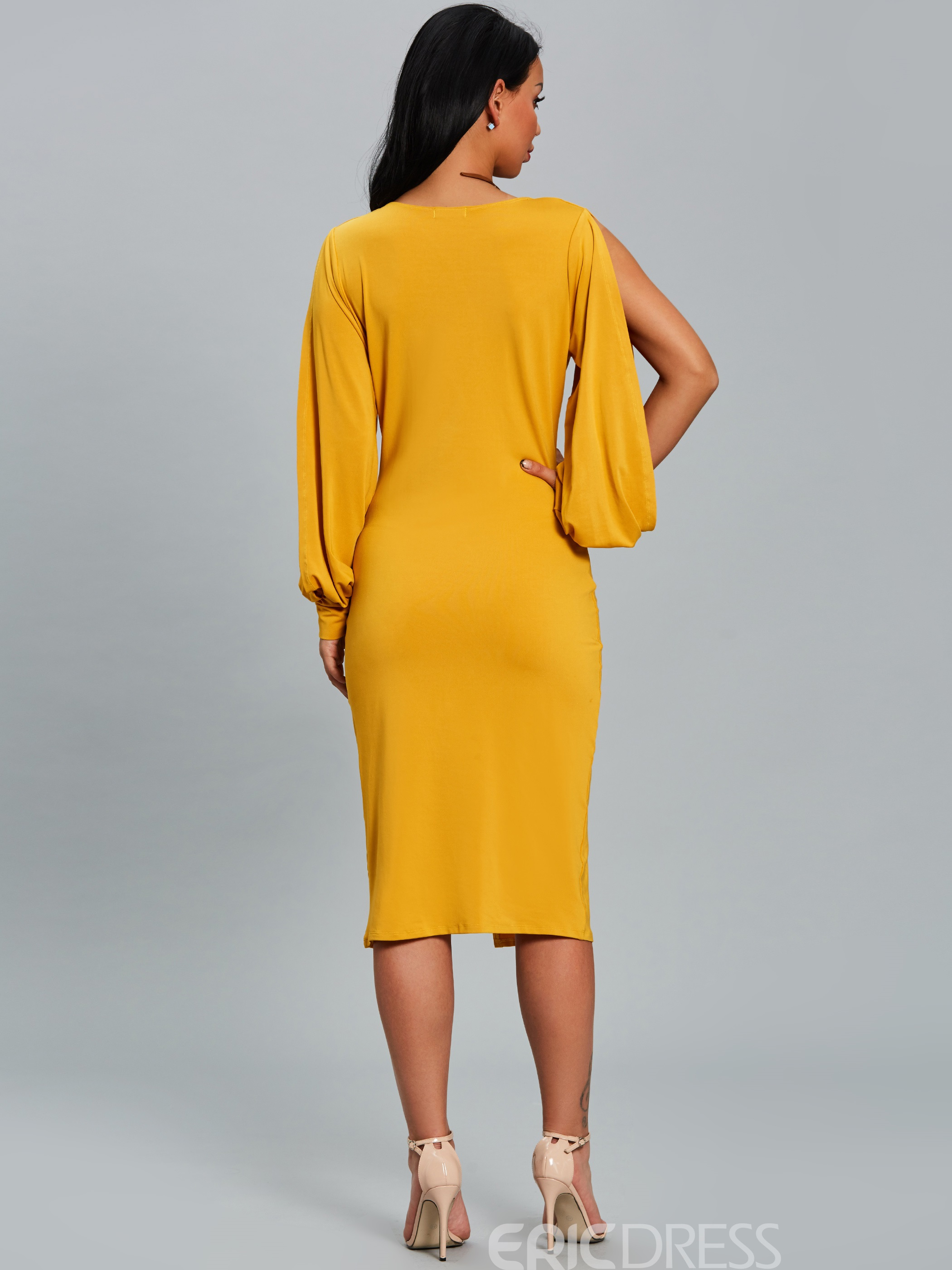 Ericdress V-Neck Lantern Sleeve With Side Slit Bodycon Dress