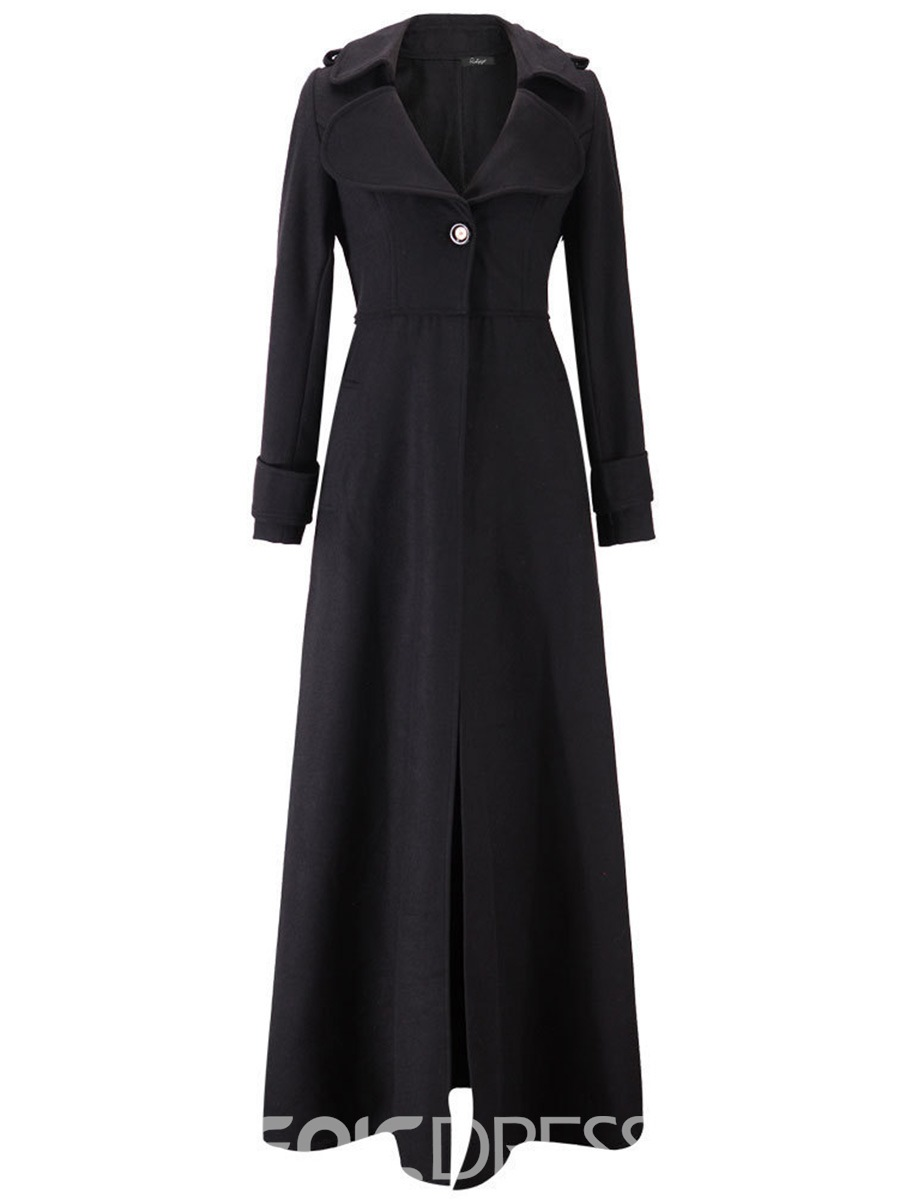Ericdress Slim Lapel Plain Long Coat
