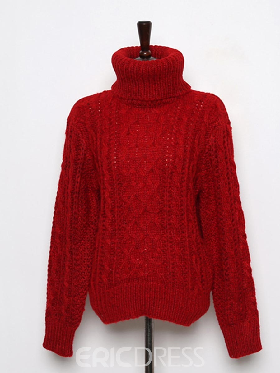 Ericdress Plain Turtleneck Thick Chunky Knit Sweater 13107953 ...