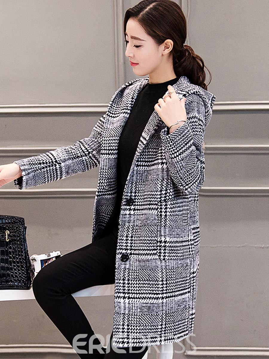 Ericdress Houndstooth Mid-Length Hooded Coat