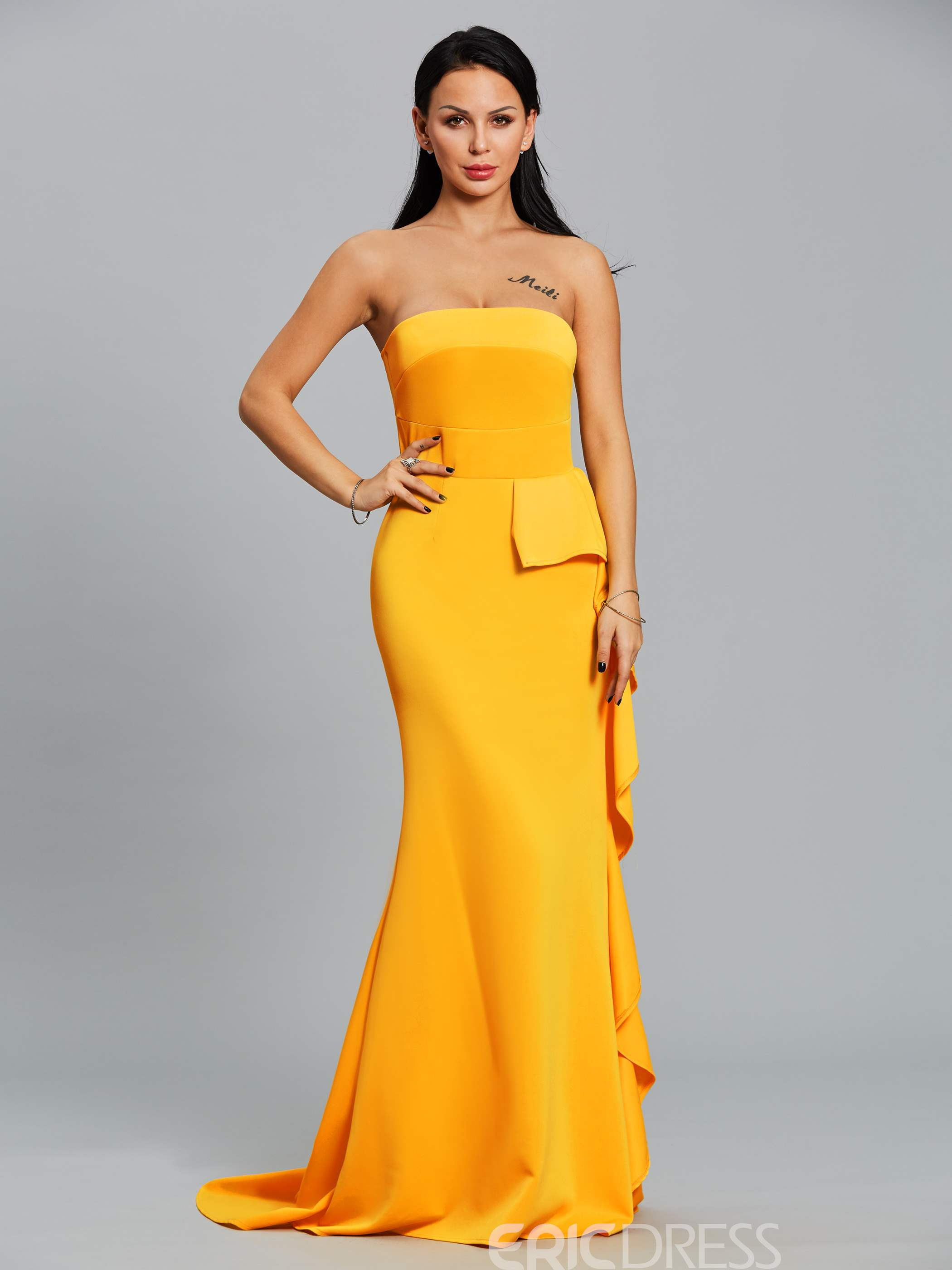 Ericdress Ruffles Slash Neck Backless Maxi Dress