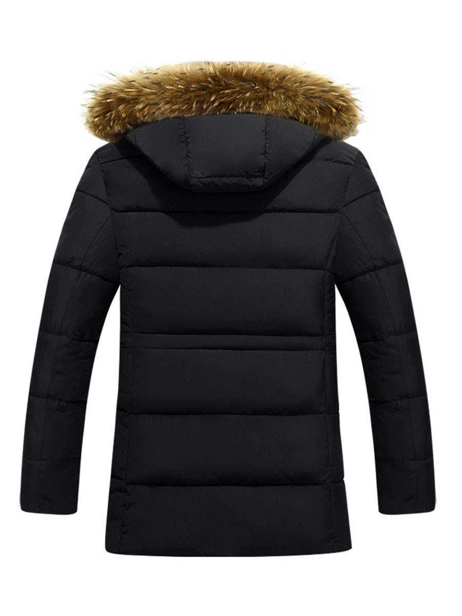 Ericdress Hooded Faux Fur Collar Thicken Warm Down Men's Coat