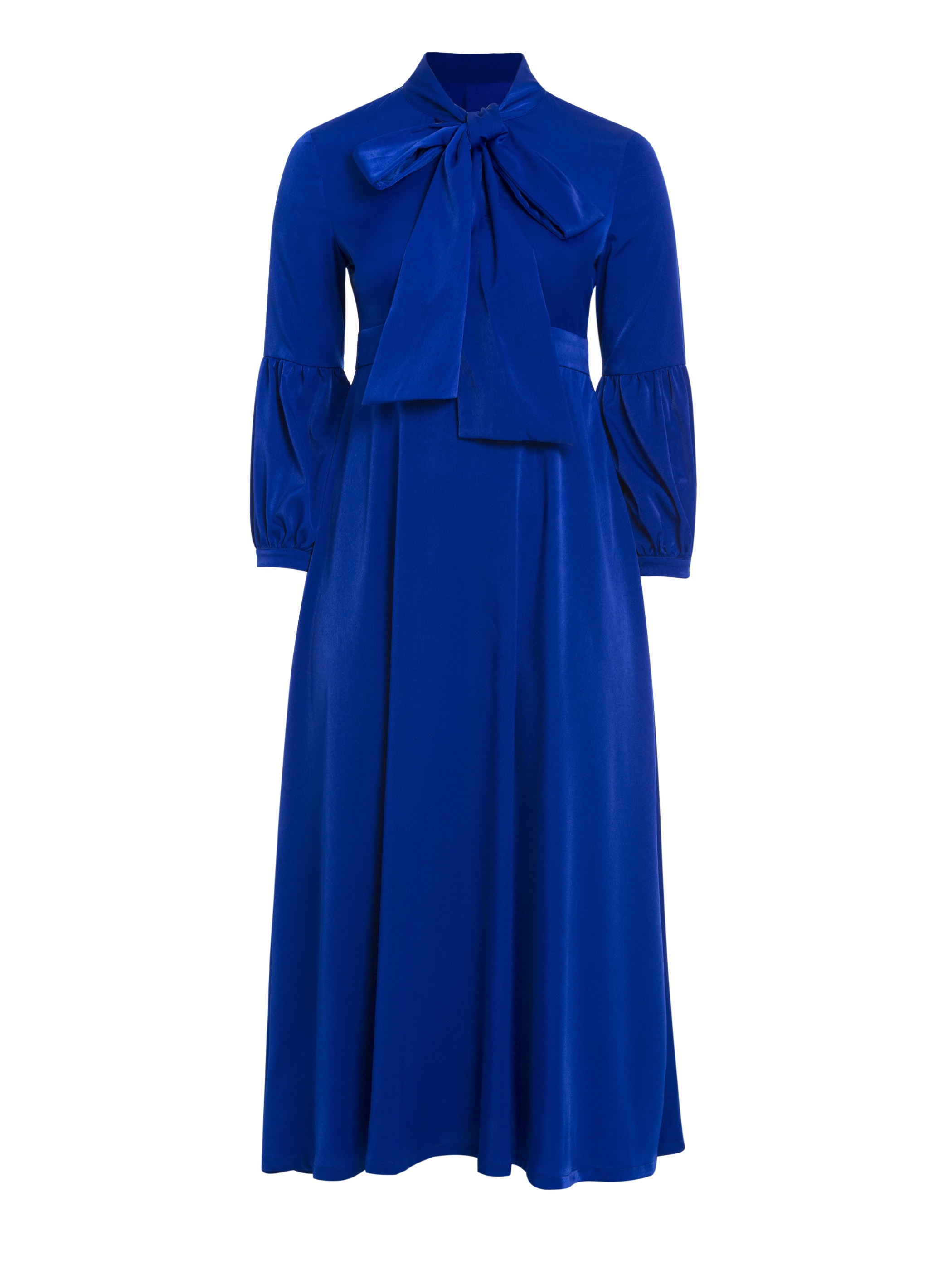 Ericdress Plus Bow Collar Pleated Long Sleeve Maxi Dress