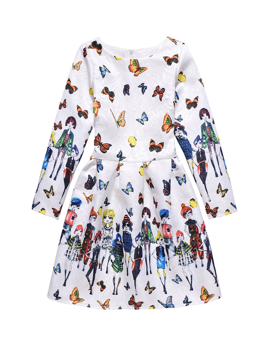 Ericdress Beautiful Print Long Sleeve Zipper Girl's A-Line Dress