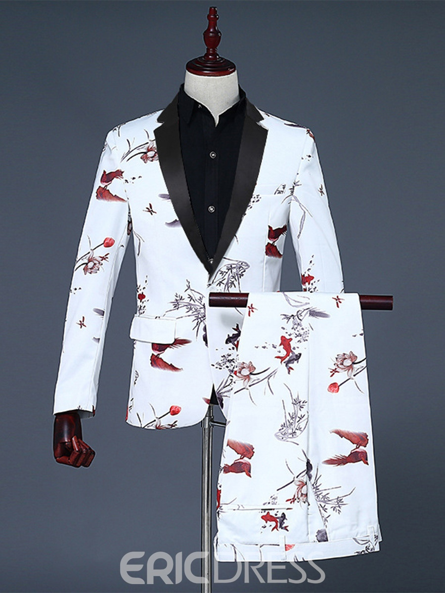 Ericdress Printed One Button Blazer Pants Mens Party Suit