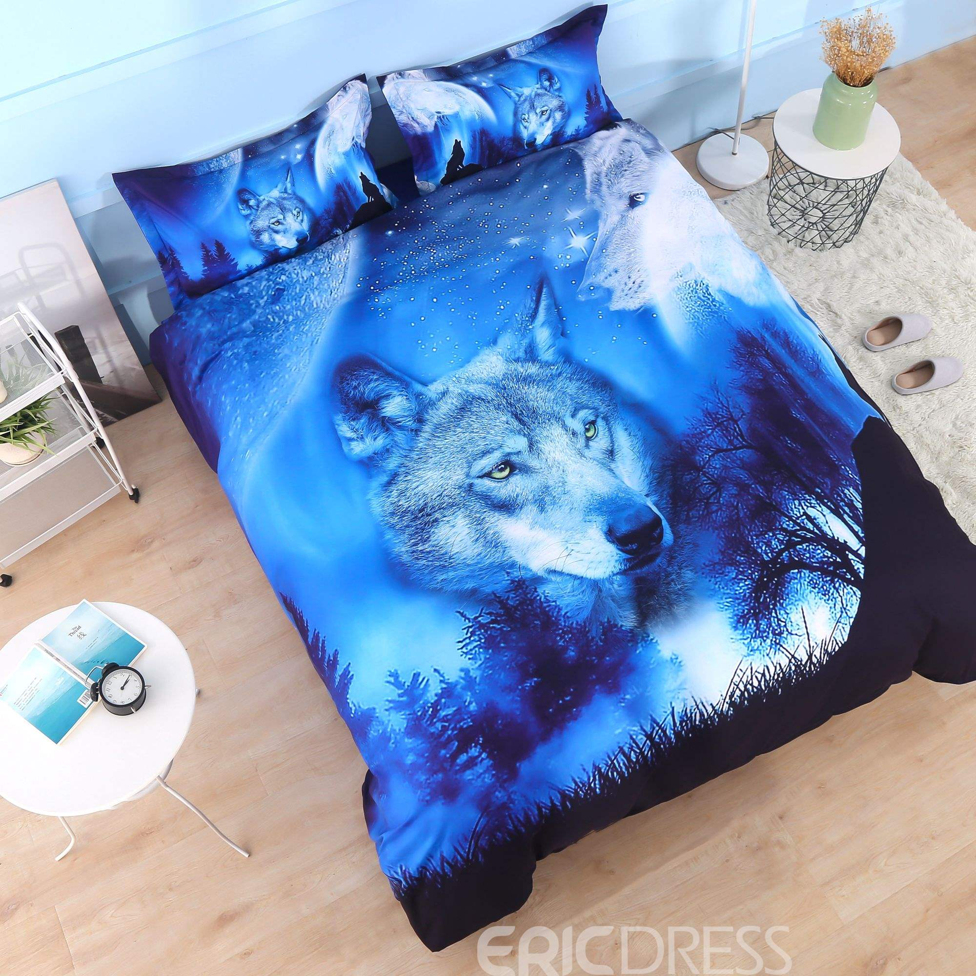 Animal Polyester Comforter Set Three-Piece Set Hand Wash Reactive Printing
