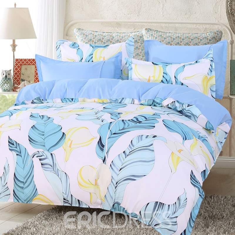 Vivilinen Light Blue Palm Leaves and Yellow Calla Lily Pattern 4-Piece Polyester Bedding Sets