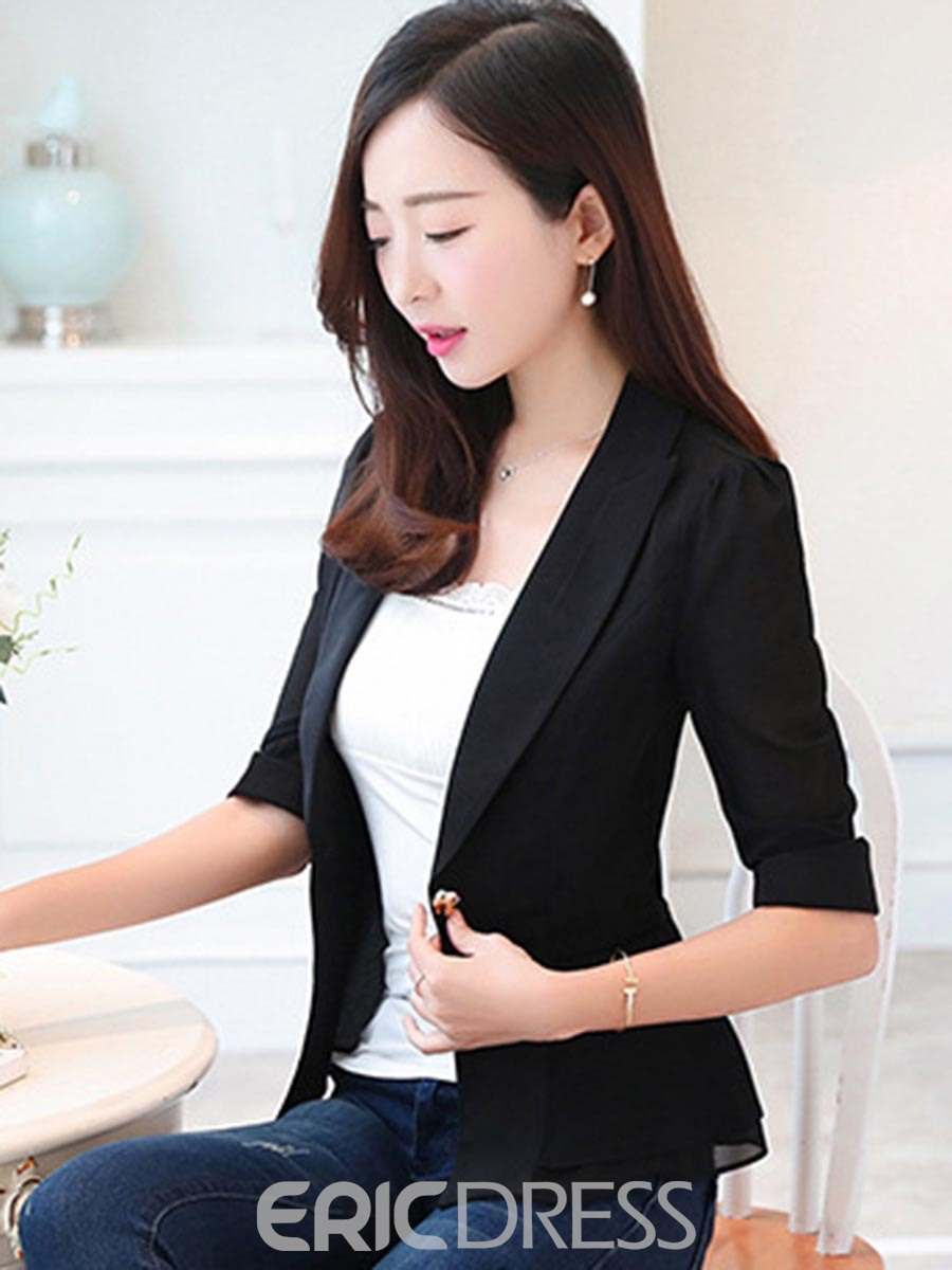 Erikdress Plain One Button Halbarm Blazer