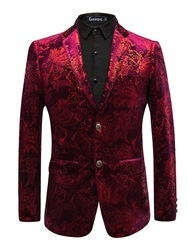 Ericdress Printed Lapel Fit Slim Print Mens Tuxedo Blazer фото