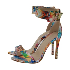Ericdress Color Block Buckle Open Toe Stiletto Sandals