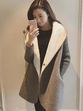 Ericdress Loose Mid-Length Hodded Coat