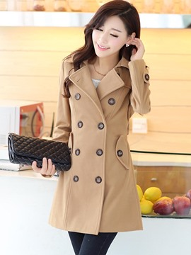 Ericdress Plain Lapel Mid-Length Double-Breasted Coat