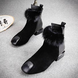 Ericdress Fur Patchwork Plain Women's Ankle Boots