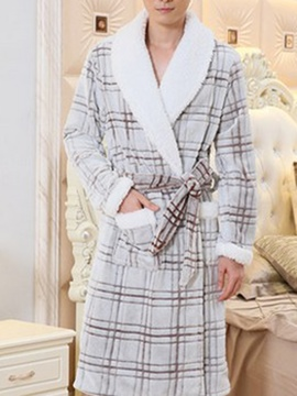 Ericdress Lapel Plaid Belt Robe Nightgown Men's Sleep Wear