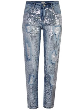 Ericdress Sequins Women's Ripped Jeans