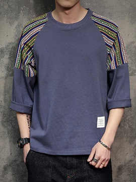 Ericdress Round Neck Print 3/4 Length Sleeve Men's T-Shirt