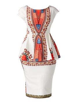 Ericdress Ethnic Print Cap Sleeve Women's Bodycon Dress