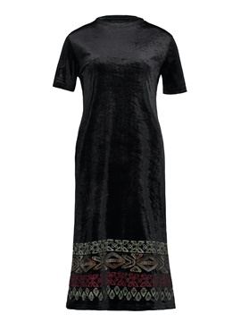 Ericdress Geometric Pattern Embroideried Women's Day Dress