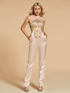 Ericdress Scoop Neck Beaded Sheath Evening Jumpsuit
