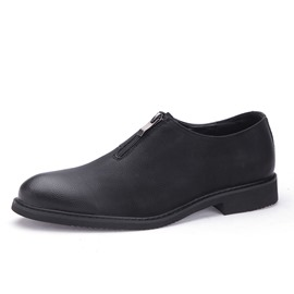Ericdress Plain Zipper Round Toe Men's Oxfords