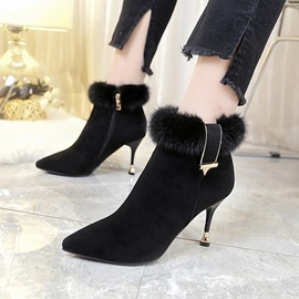 Ericdress Fashion Fur Pointed Toe Plain High Heel Boots