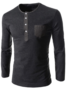 Ericdress Round Neck Pocket Long Sleeve Men's T-Shirt