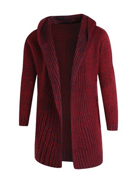 Ericdress Lapel Solid Color Mid-Length Men's Cardigan Sweater